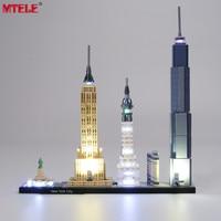 MTELE מותג LED אור עד ערכת צעצוע לאדריכלות חדש יורק תאורה סט Compatile עם 21028