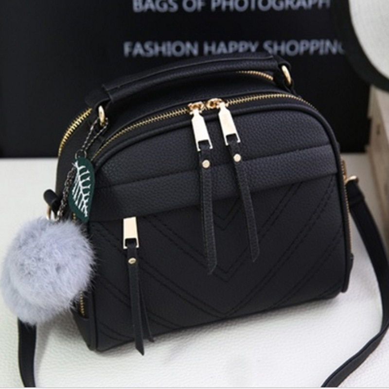 2020 Girl Messenger Bags with Fair Ball Tassel Fashion PU Leather Handbag for Women Female Shoulder