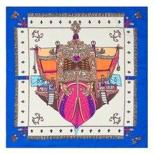 [POBING]60cm * 60cm Twill soie Euro Style femmes carré écharpe ancre bateau impression foulards printemps et automne Foulard châles féminins
