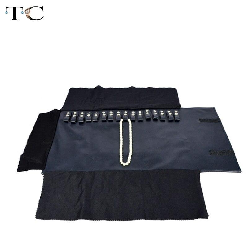 Blau Navy Leder Schmuck Lagerung Tragbare Display Fällen Veranstalter Schmuck Reise Rolle für 16 Halsketten und Anhänger Tasche