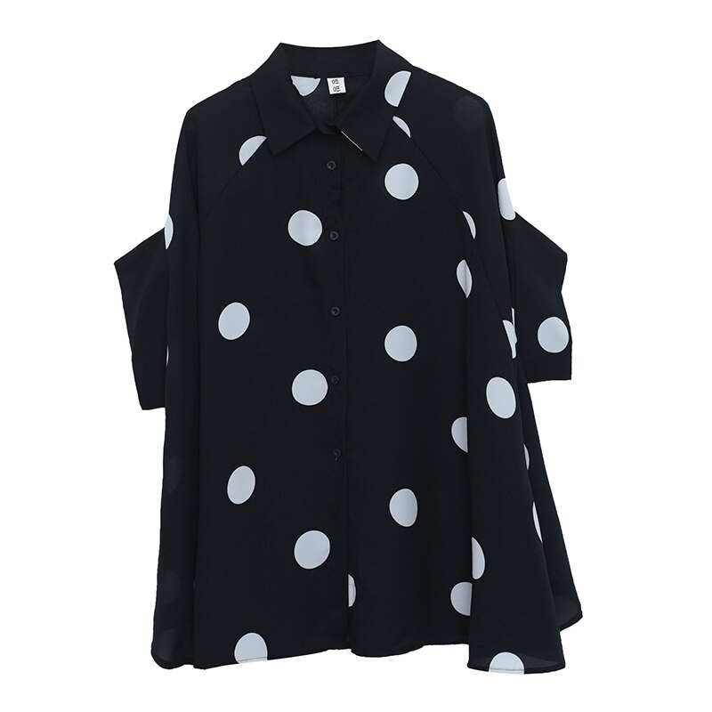 BIG SIZE 4XL Summer Women Fashion Elegant Dots Tops Ladies Female Plus Large Short Sleeve Chiffon Ruffles Blouse Shirt Blusas