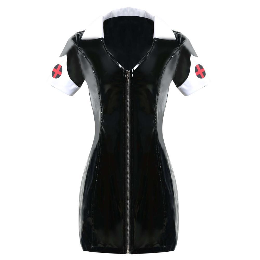 Sexy Exotic PVC Leather Vinyl Mini Dress Women Black Wet Look Nurse Cross Sheath Zipper Above Knee Dresses