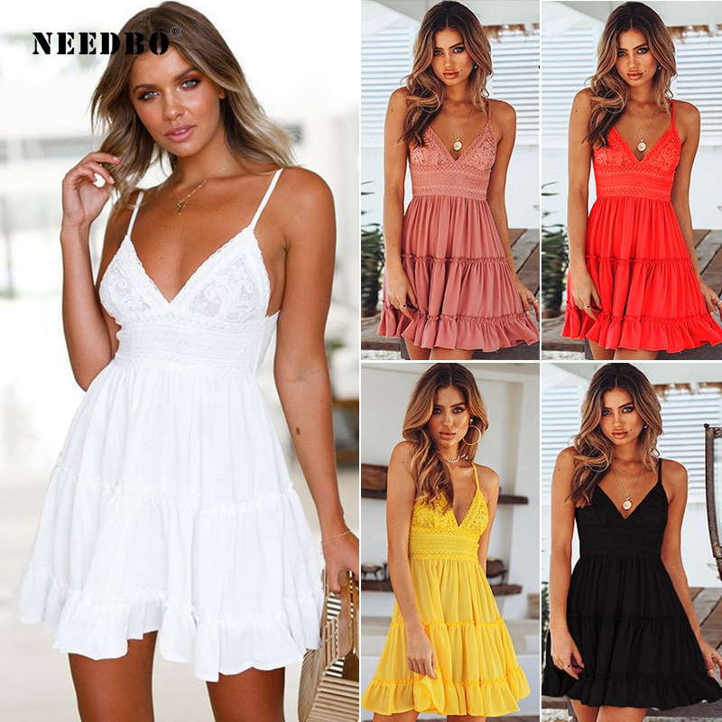 Needbo vestidos de verão casual senhoras boêmio espaguete cinta profundo com decote em v praia sexy vestido sem costas laço retalhos vestidos