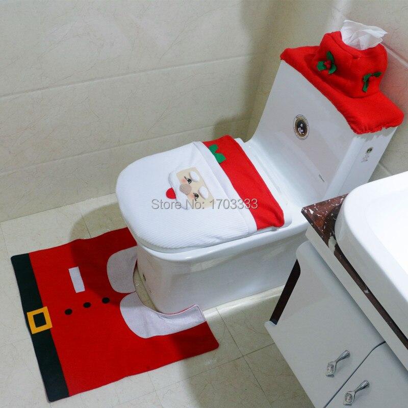 Conjunto de Decorações de Natal de Santa Tampa de Assento do Toalete e Tapete do Banheiro Conjunto Grupo Fedex Frete Grátis 50 Dhl