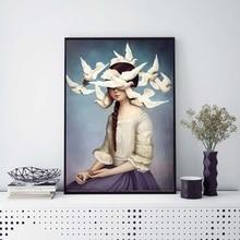 Chica y palomas decoración minimalista nórdica pintura impresa en lienzo arte de pared imagen decoración del hogar carteles e impresiones sin marco