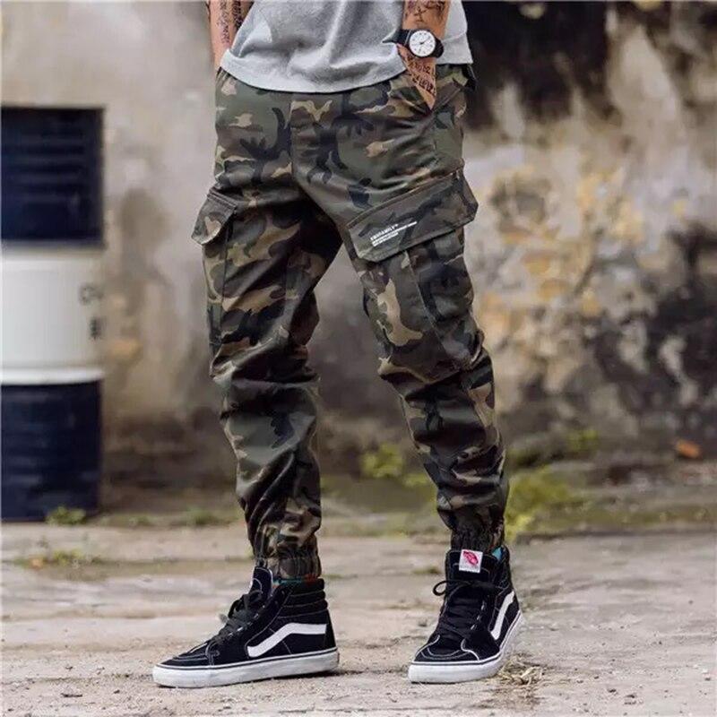 Clásico pantalón militar para hombre Hipster Jeans Joggers pantalones jóvenes Bolsillo grande pantalones de tobillo de bandas de carga militar, los hombres de pantalones MY031