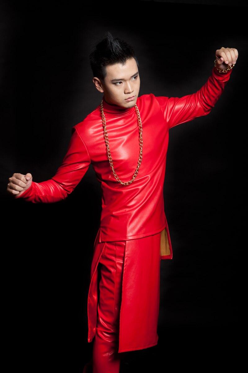 أزياء الرجال الجدة الصوف والجلود الحمراء قمم ملهى بار الذكور المغني dj المرحلة المعرض hiphop الرقص ارتداء