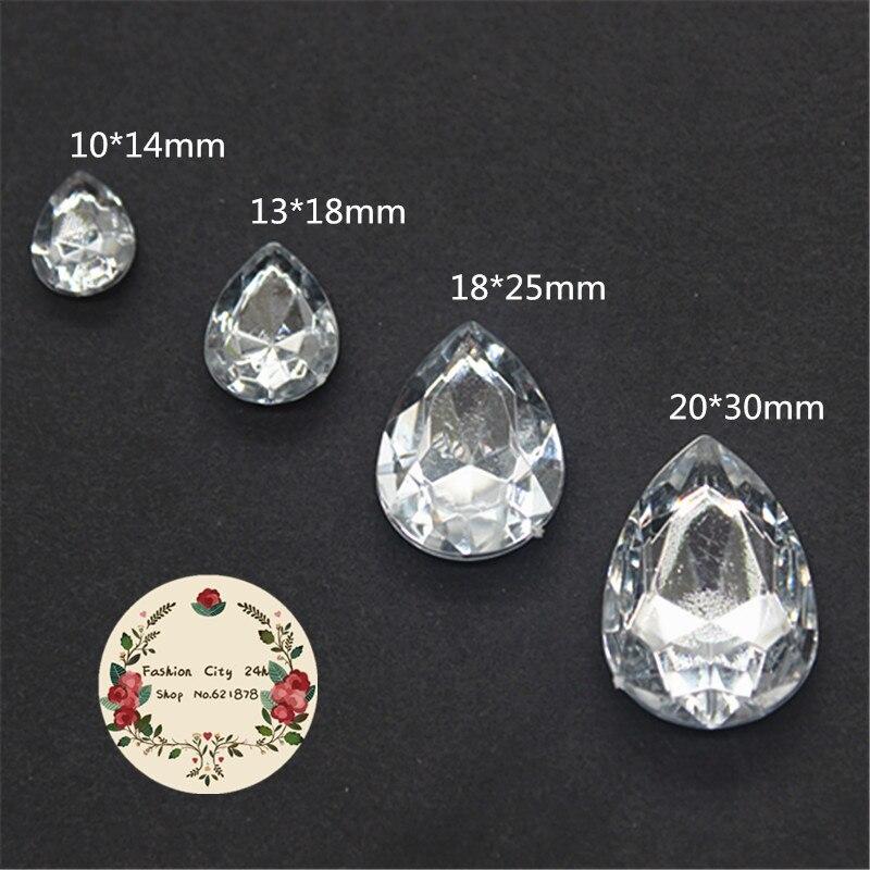 Acrílico Crystal Clear 10x14,13x18,18x25,20x30mm Teardrop Pointback Pedras Extravagantes (Nenhum Buraco) decoração DIY Ofício Charme