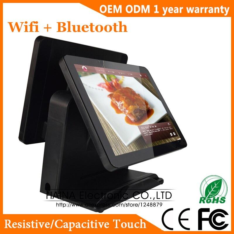 Pantalla táctil capacitiva de 15 pulgadas sistema POS todo en uno pantalla táctil Dual Monitor PC