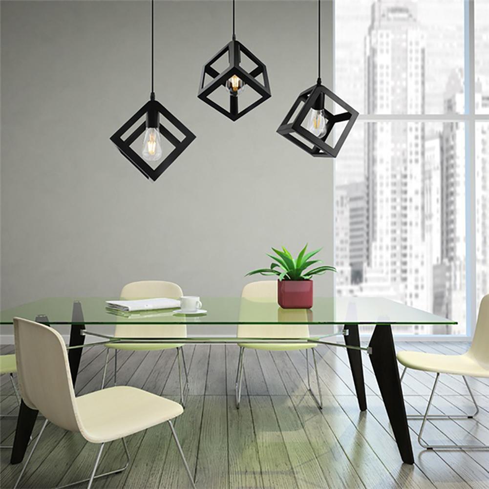 Nordic Style Geometric Cube Iron Pendant Ceiling Light Lamp Fixture for E27 Bulb
