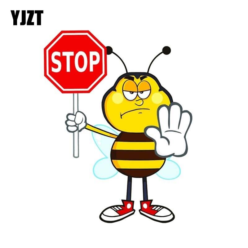 YJZT 13,7 CM * 17,8 CM BEE STOP PVC Auto Aufkleber Aufkleber 12-300686