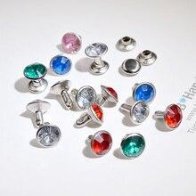 Lot de 100 Rivets en diamant 8mm   Fermoir, ruban de rivets sur le côté, accessoires bricolage rivet Double face, nombreuses couleurs de boucle mixte
