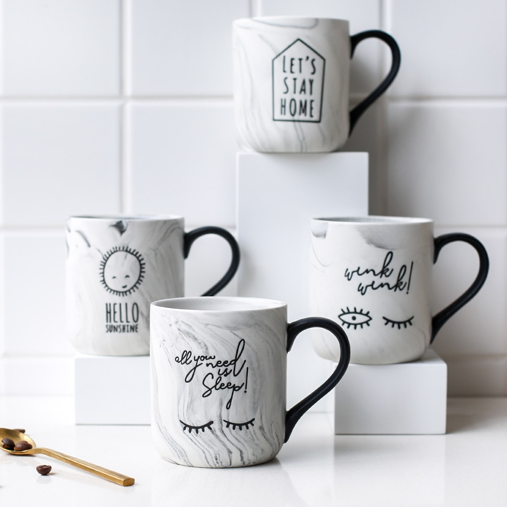 Tazas de cerámica de mármol para café de 450ml, tazas de mármol...