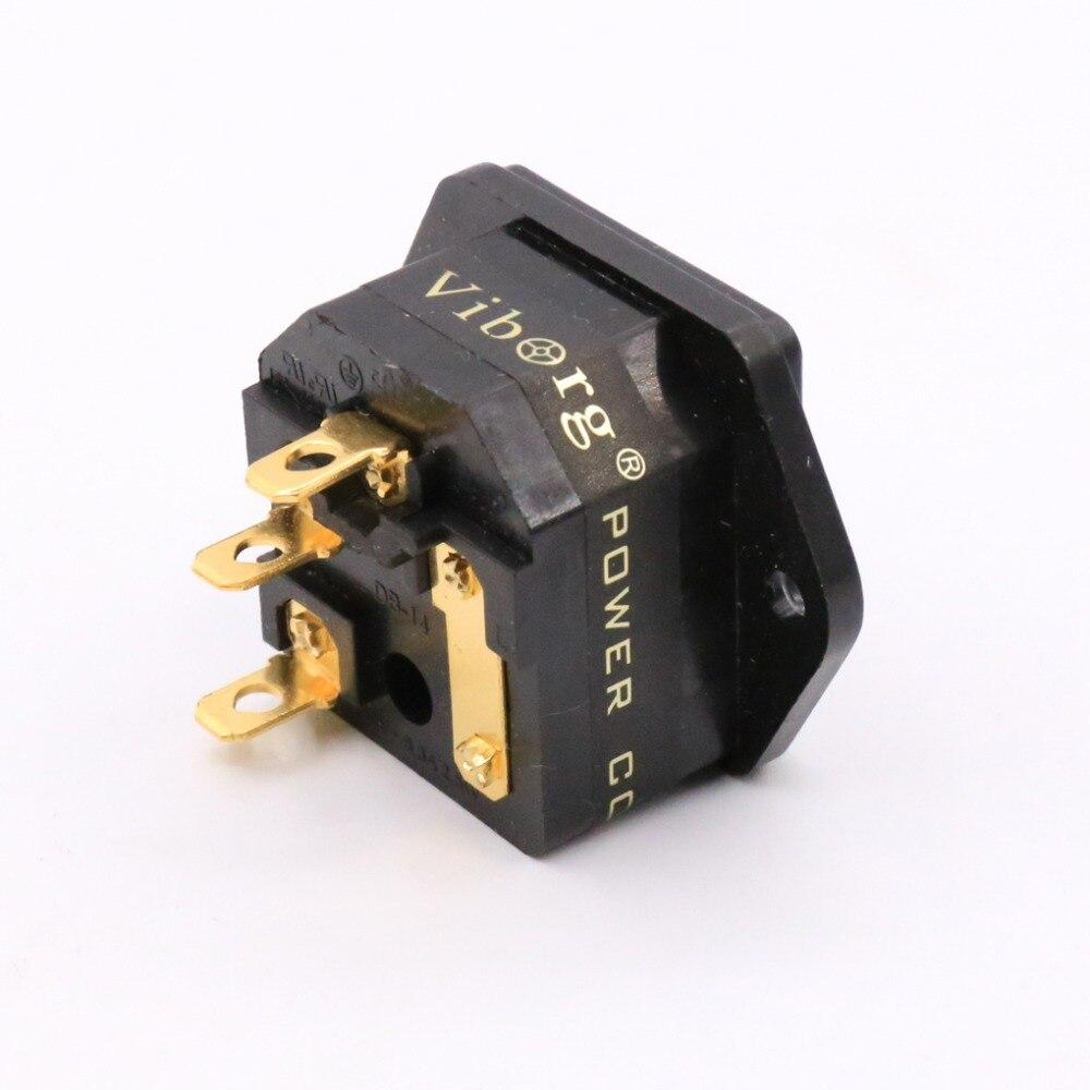 Kostenloser versand Viborg FI-03G Verschmolzen IEC Buchse/Stecker Gold Überzogene steckdose