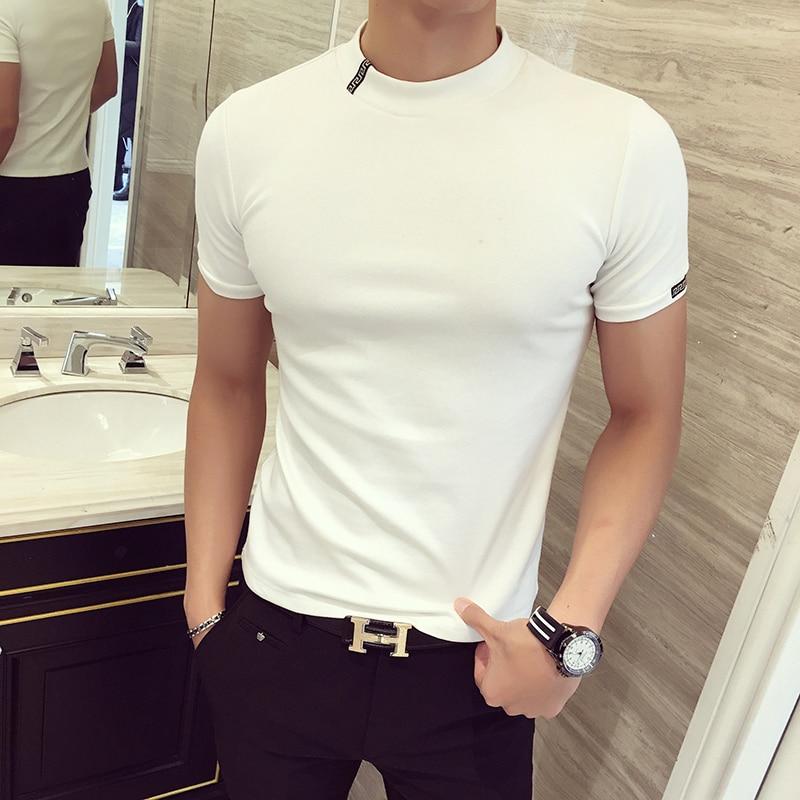 Camiseta de verano 2019, Camiseta ajustada de cuello redondo para hombre, camiseta de moda de manga corta, camisetas para hombre, camiseta informal negra de calle