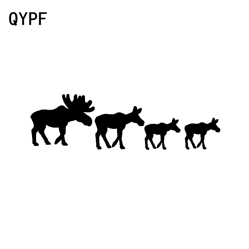 QYPF 16.6CM*4.9CM Interesting Moose Family Vinyl High-quality Car Sticker Decal Black Silver C15-3228