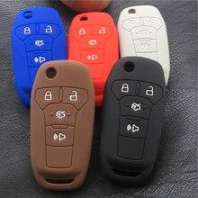 Silicone de borracha caso da capa da chave do carro para ford fusion 2013-2015 4 botão chave remota