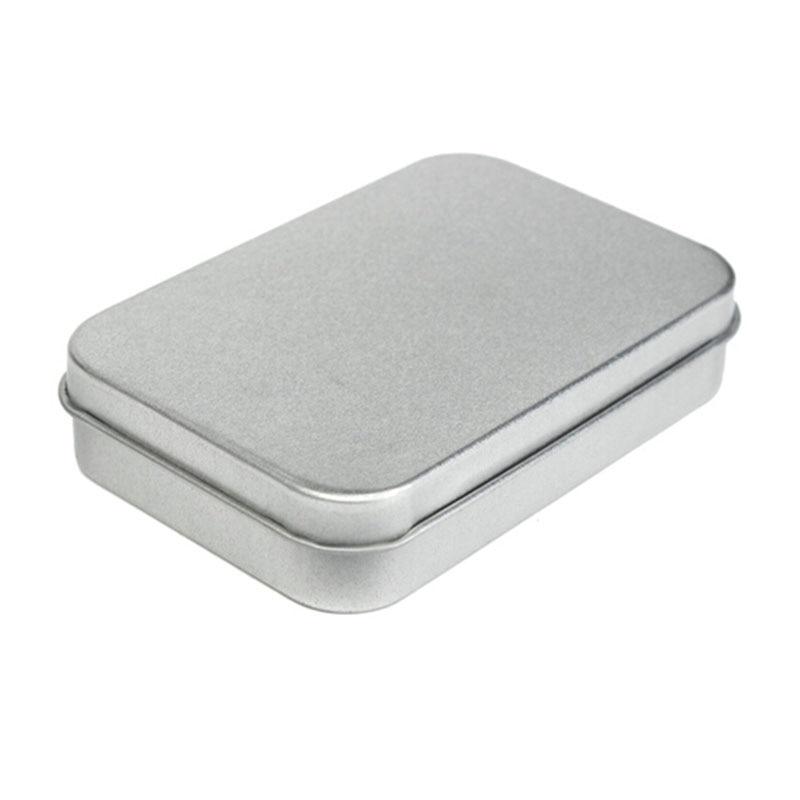 Kit de supervivencia, caja pequeña plateada vacía de Metal de hojalata, organizador de caja para dinero, monedas, llaves de caramelo