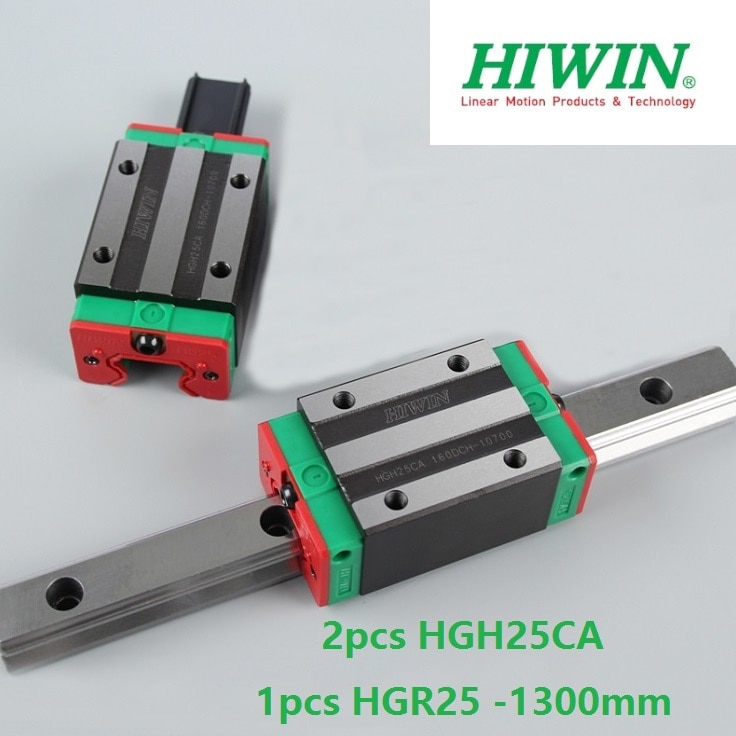 HGR25 1 pcs 100% guia original Hiwin linear trilho linear-L 1300mm + 2 pcs HGH25CA narrow linear bloco para router cnc