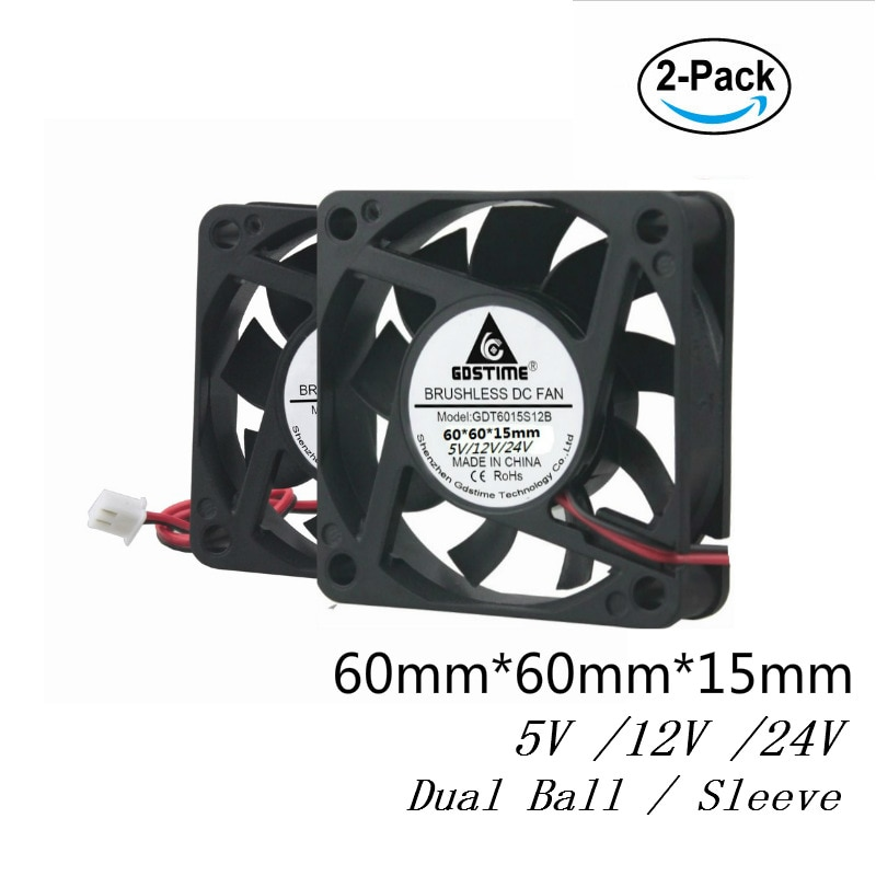 Gdstime 2 Pcs 6cm DC 5V 12V 24V 60mm x 15mm Brushless PC Cooler 60x60x15mm Computer Case CPU VGA Heatsink Cooling Fan 6015