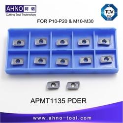 APMT1135PDER M2 10 шт./лот AHNO CNC Solide Карбид индексируемый фрезерный вставляет инструменты для лицевой мельницы BAP 400R и RAP75