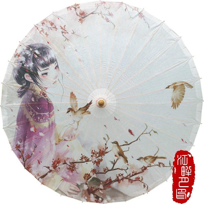 Paraguas chino de papel de aceite personajes de animación artesanía clásica Parasol accesorios decorativos Sunny Wind paraguas hecho a mano