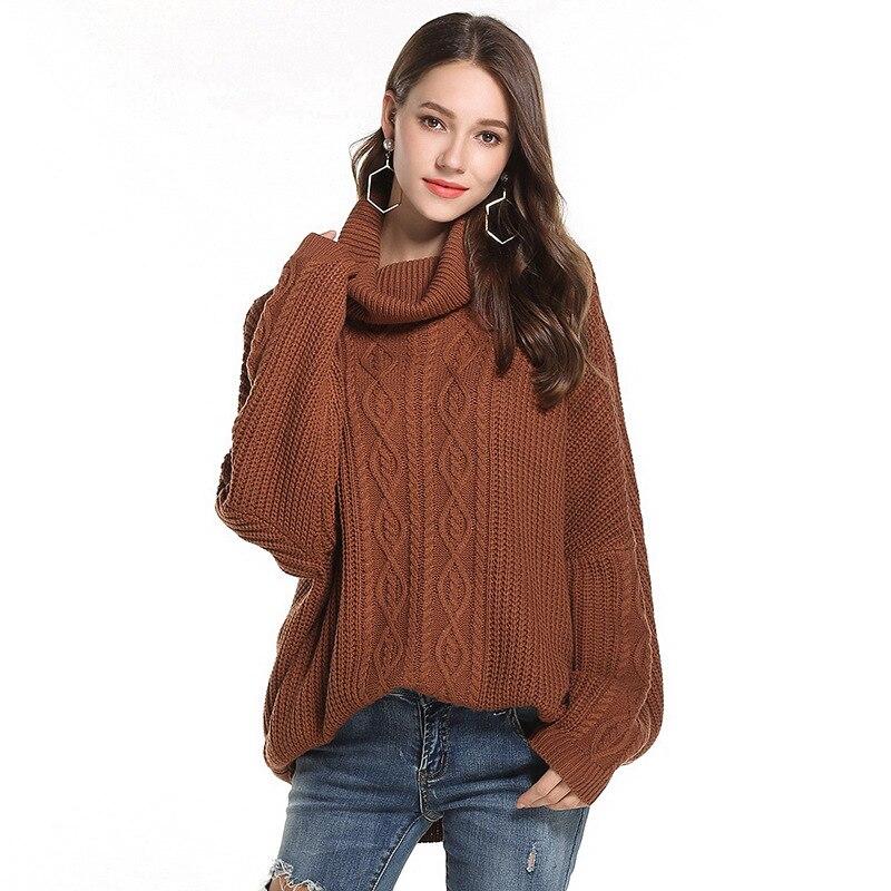 Jersey de punto de cuello alto grueso de otoño e invierno para mujer, Jersey elegante de punto para mujer, Jersey de punto con cuello alto