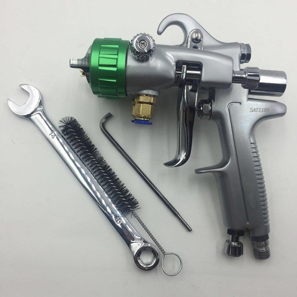SAT1189 de pintura automotriz armas de alta presión espejo de plata Placa de cromo pistola de pintura Doble boquilla de aerógrafo aerosol Pintura de coches