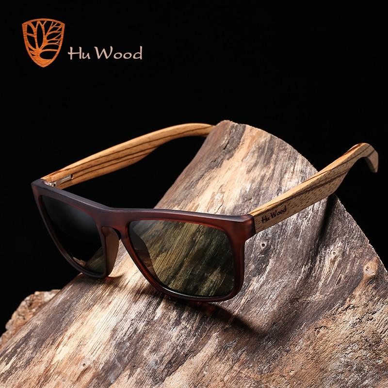 HU WOOD Natural Bamboo Sunglasses for Men Zebra Wood Sun Glasses Polarized Rectangle Lenses Driving UV400 GR8002