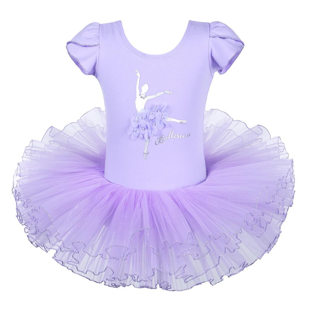 BAOHULU Purple Ballet Dress Short Sleeve Ballet Dress Girl Pearl Flower Ballet tutu Dancer Ballet Costume for Kids Girls