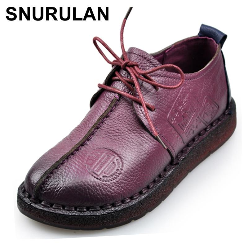 SNURULAN, zapatos Retro a la moda para coser a mano, zapatos planos de mujer de cuero genuino, fondo suave, zapatos de mujer, zapatos casuales cómodos suaves E066