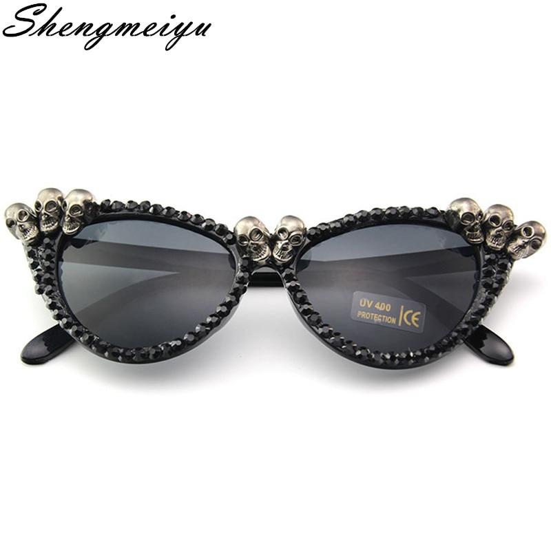 New 2020 Women Luxury Brand Sunglasses Skull Rhinestone Decoration Cat Eyes Sunglasses Vintage Shades Eyewear gafas de sol