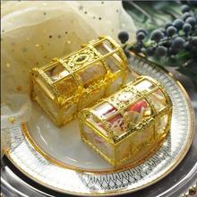 Boîte à trésor de grande taille en or   30 pièces/20 pièces, boîtes à cadeaux de mariage transparentes en plastique, boîte à bijoux pour bonbons fête prénatale
