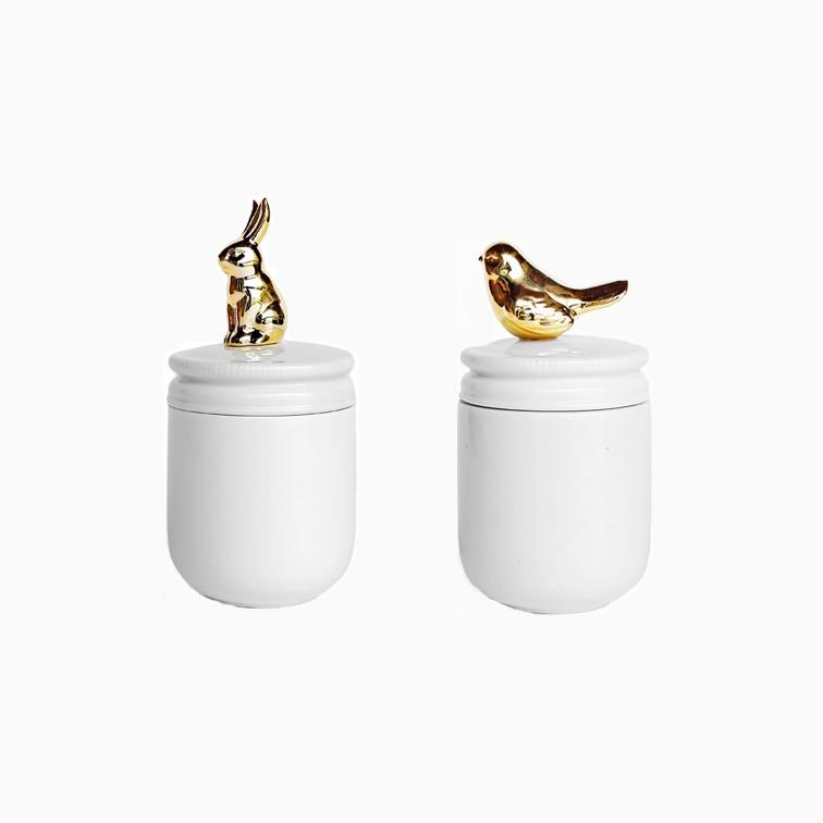 Ins figuras Miniture ouro Nórdico coelho pássaro Estátua Estatueta de cerâmica animal pote frasco de garrafas de armazenamento de decoração Para Casa Decoração de mesa
