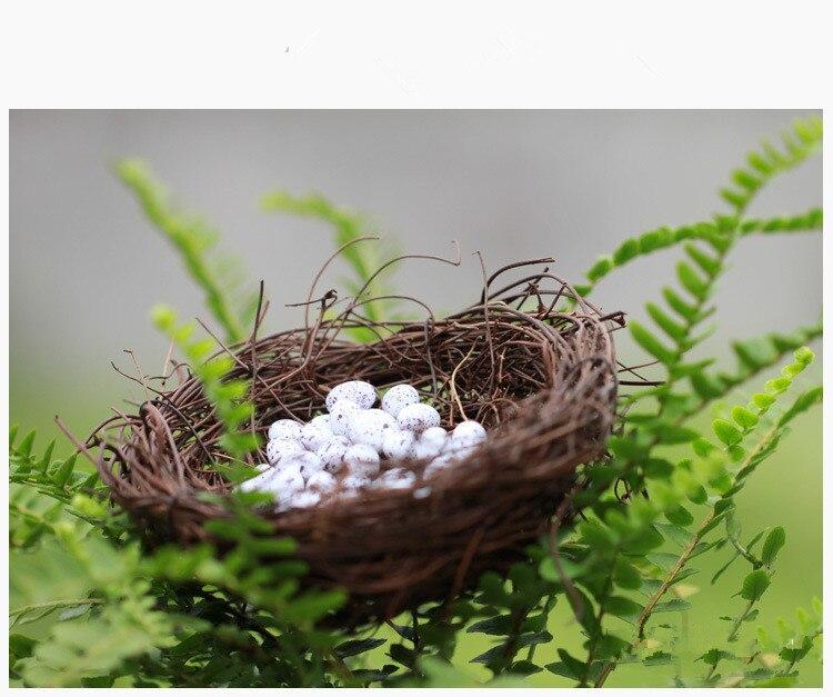 1PC Micro Fairy Garden Decoration Miniature Figurine Toys Crafts DIY Accessories Artificial Birds Nest Simulation Eggs KS 041
