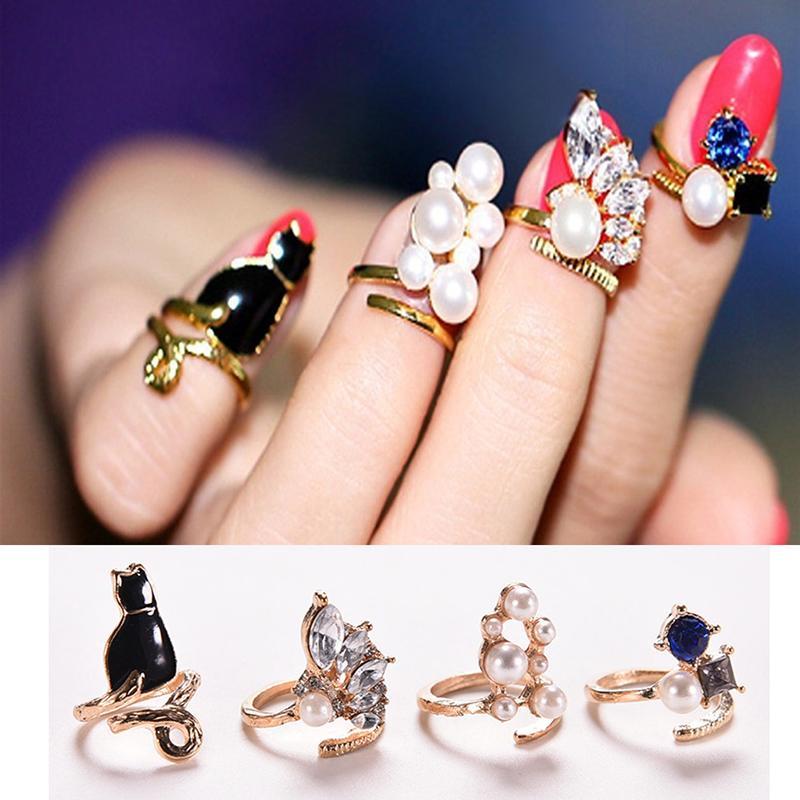 4 шт./компл., уникальный стиль, кристалл, Черный кот, жемчужные кольца, набор для женщин, модные кольца для ногтей, шикарные колечки, новые модные ювелирные изделия