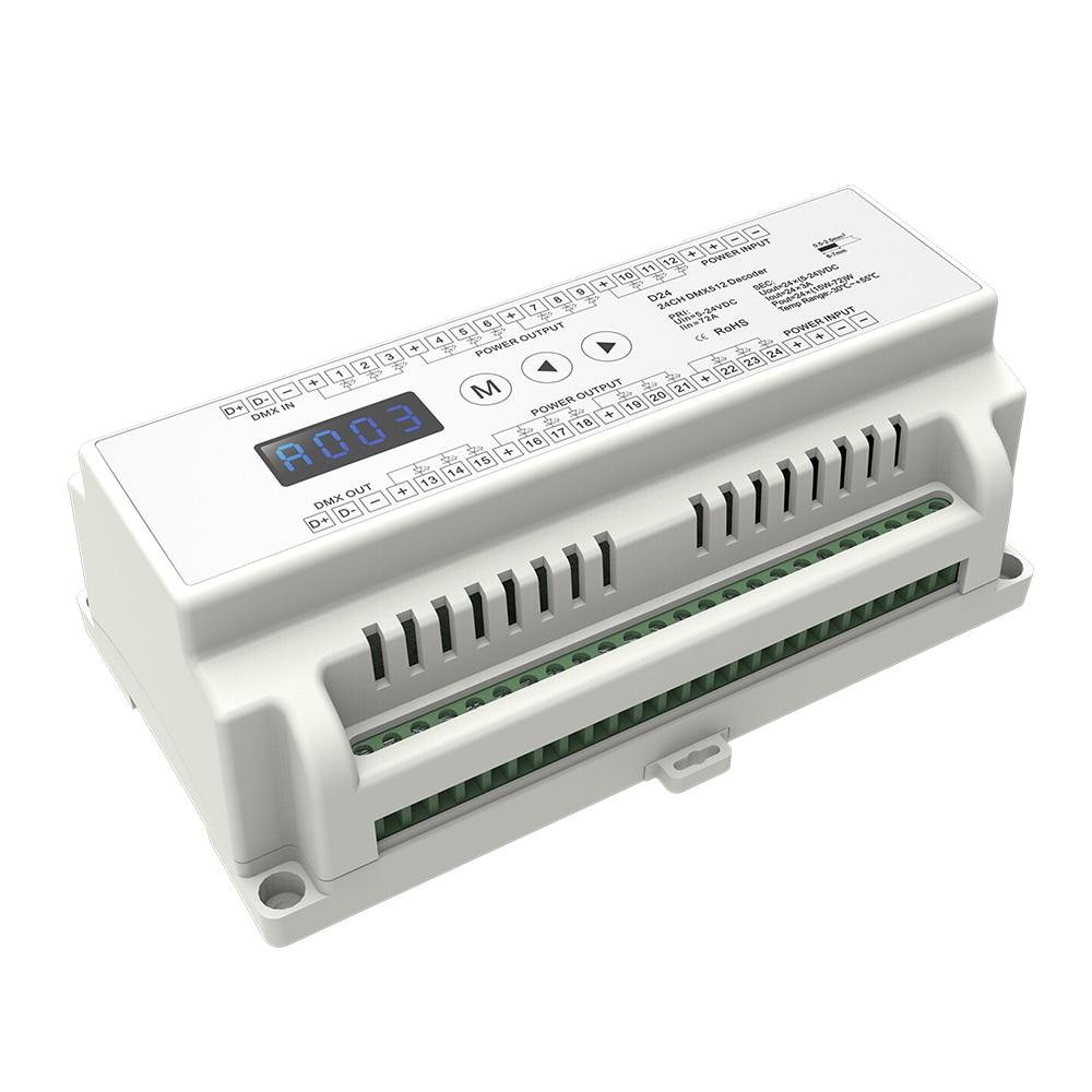 Акция! Декодер CVDMX512, 24-канальный вход, 3А * 24CH выход с дисплеем, настройка адреса DMX