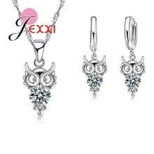Conjunto de pendientes collares con colgante de cristal de búho para boda a la moda para mujer, deslumbrante Cadena de clavícula, accesorios de joyería de compromiso
