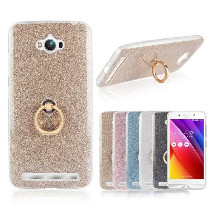 Funda para teléfono TPU suave con anillo de dedo brillante para Asus ZenFone Max ZC550KL con soporte