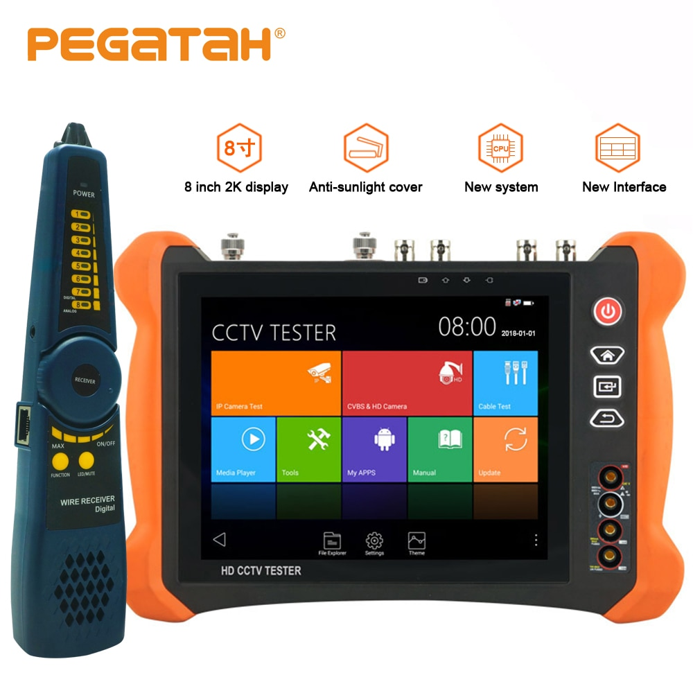Probador de cámara CCTV 8 pulgadas 8MP IP CVBS 8MP TVI CVI 5MP AHD SDI IP probador de cámara con HDMI OPM, multímetro de prueba TDR