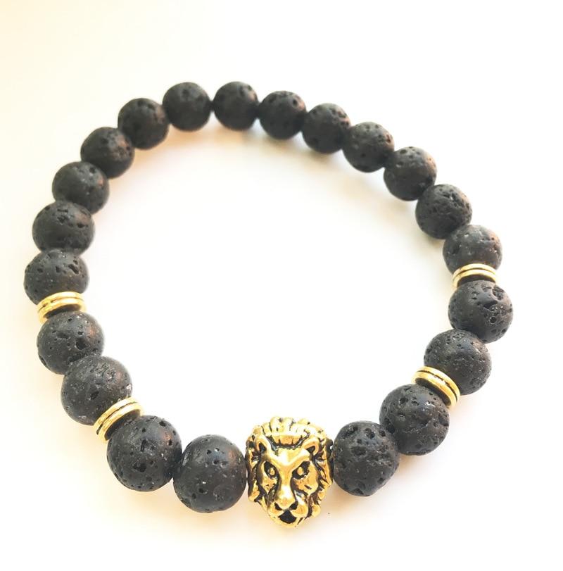 DIY ювелирные изделия, поставка, европейские браслеты с бусинами из натурального камня, Вулкан, каменная голова льва, браслет для йоги