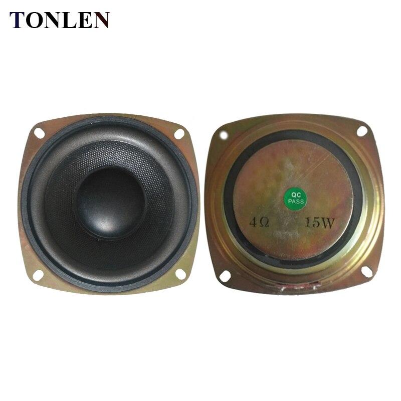 Tonlen 2 pçs 4 polegada subwoofer alto-falante 4ohm 15 w alta fidelidade baixo woofer alto-falante de som portátil gama completa alto-falante chifre alto falantes estéreo