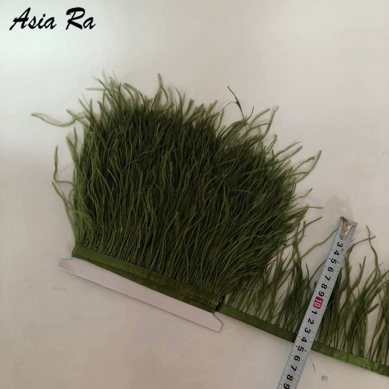10 metros verde oliva alta calidad pluma de avestruz Real Trims 10-15cm para vestido/traje de cinta de adorno de plumas DIY partido Craft