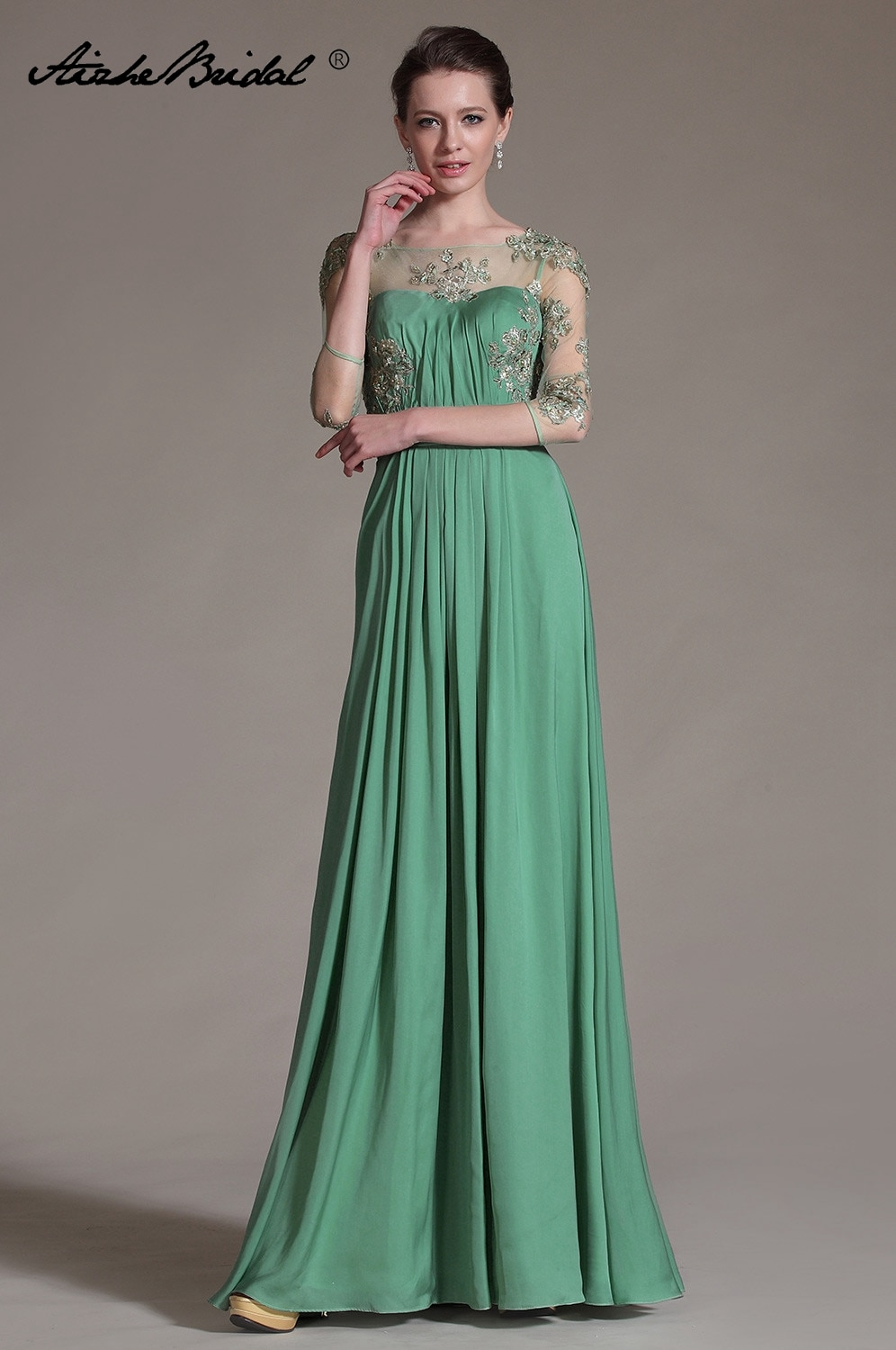 plus size green 2018 mother of the bride dresses a line 3 4 sleeves chiffon lace wedding party dress mother dresses for wedding Plus Size Green 2018 Mother Of The Bride Dresses A-line 3/4 Sleeves Chiffon Lace Wedding Party Dress Mother Dresses For Wedding