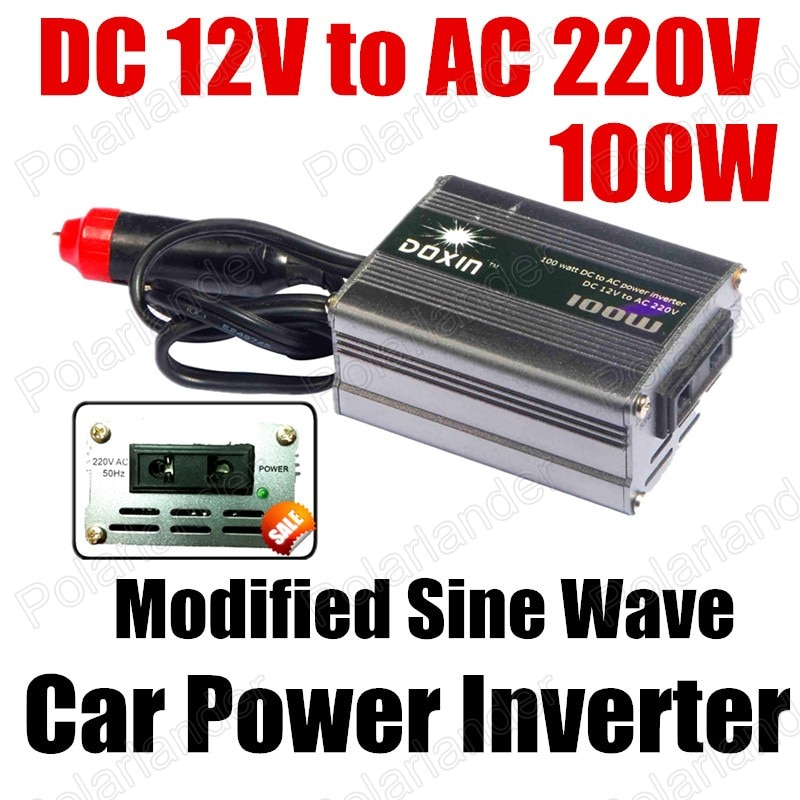 Transformador de voltaje del coche 100 W convertidor de potencia del coche DC 12 V a CA 220 V Puerto USB modificado sinusoidal la onda