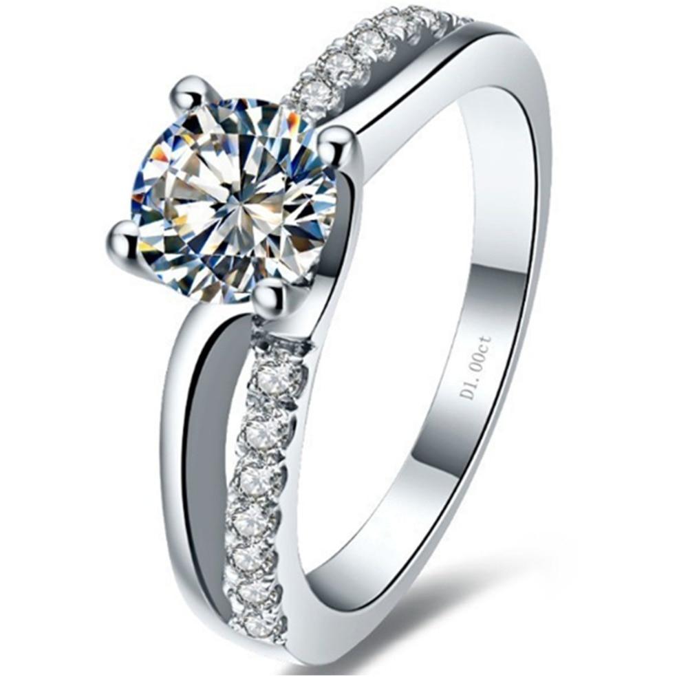 Anillo de oro blanco sólido de estilo de marca 1CT simulando anillo de diamante joyería femenina Au750 oro perfecto joyería fina de regalo para madre