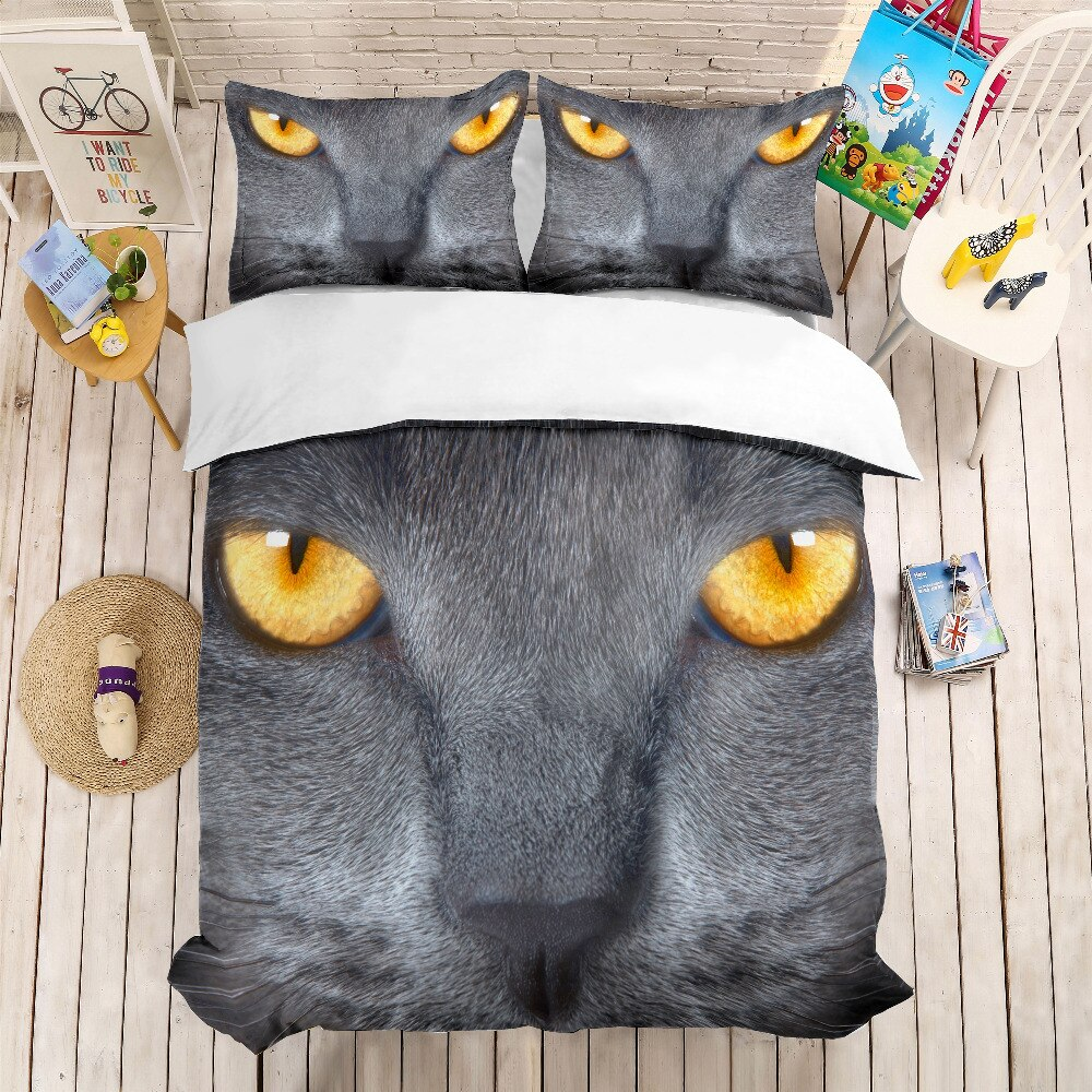3D print Bedding set Cat head close-up kids/friends presentgift Duvet cover set Home Textiles super kingking/twin/full