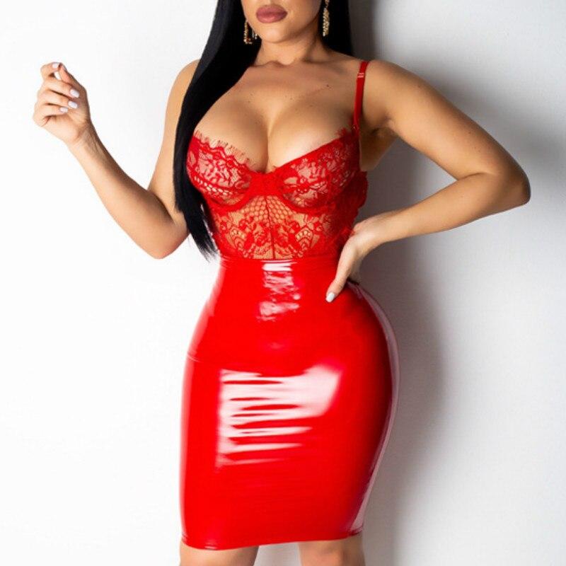 女性はセクシーなレース pvc パッチワークボディコンウェットルック pu クラブウェアイブニングパッケージ赤、青、黒タイトなデート服