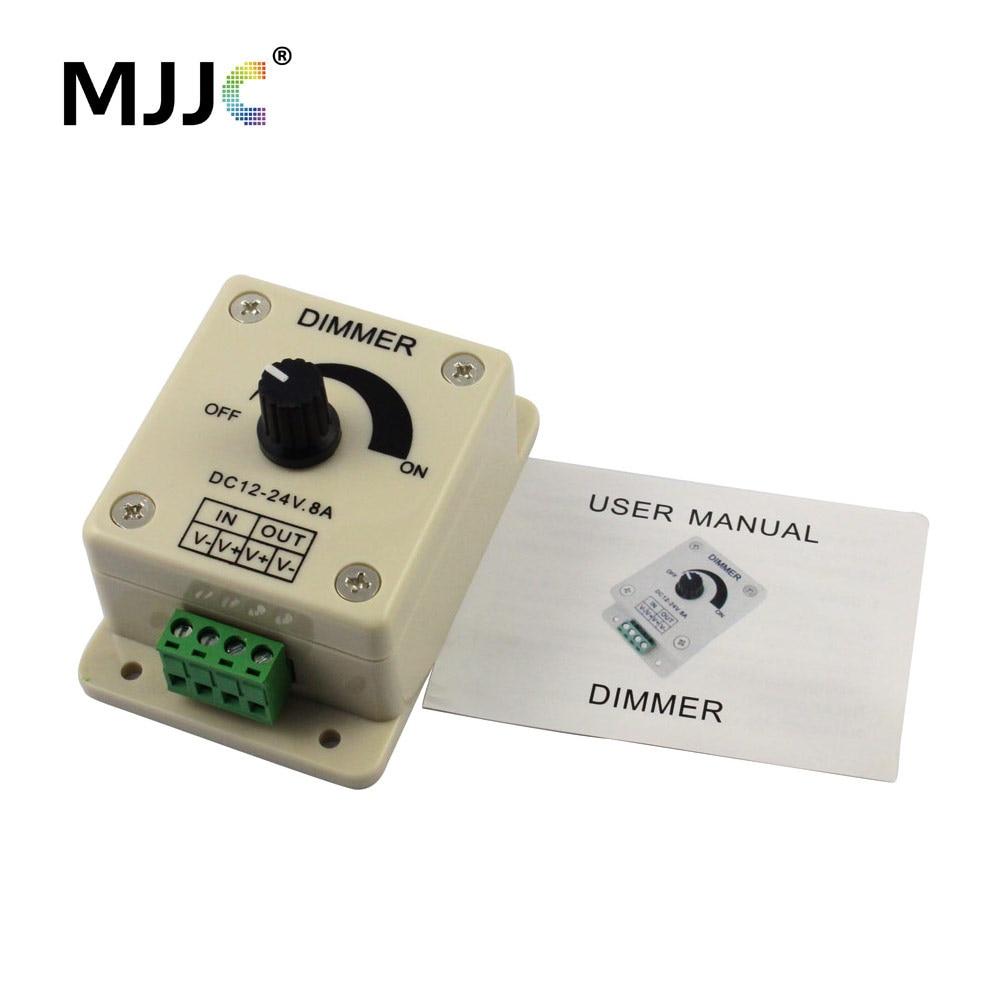 Светодиодный диммер, 12 В, 24 В, 8 А, светодиодный диммер с поворотным затемнением, настенный выключатель для одноцветной светодиодной ленты