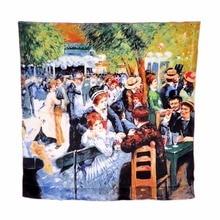 Grand foulard Bandana Cape pour femmes   Foulard en soie imprimé laminé à la main, Pierre-Auguste Renoir, danse au Moulin de la Galette